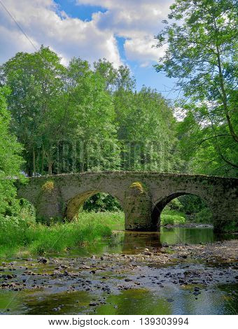 historic Bridge at Nister Creek near Abbey of Marienstatt in Streihausen,Westerwald region,Rhineland-Palatinate,Germany