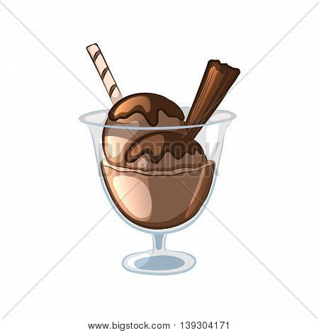 Balls of chocolate ice cream in a glass bowl. Cartoon icons. Isolated objects on white background. Vector illustration.