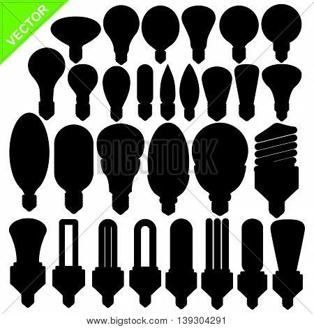 Set of Bulb silhouettes vector on white color background