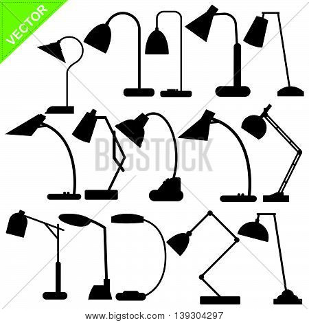 Set of desk lamp silhouettes vector on white color background