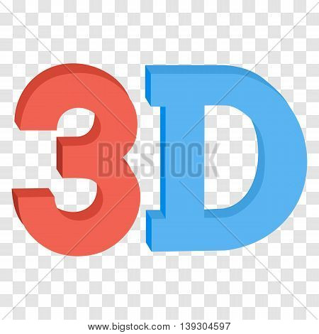 3D three-dimensional button sign in solid red and blue colors icon isolated on transparent background. Vector illustration.