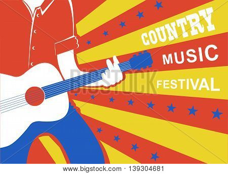 Country Music Poster With Man Musician And Guitar.