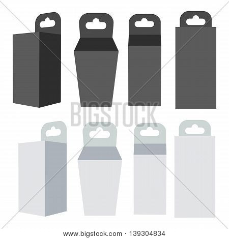 White and black paper hanging box set. Packaging container with hanging hole. Mock up template. Vector illustration isolated on white background.