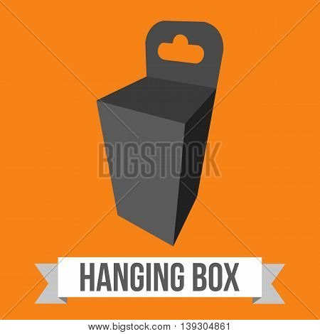 Black paper hanging box set. Packaging container with hanging hole. Mock up template. Vector illustration on orange background.