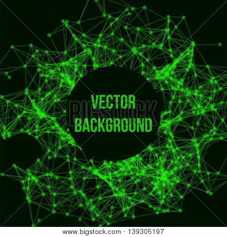 Wireframe mesh polygonal background. Abstract form with connected lines and dots. Vector black and green illustration.