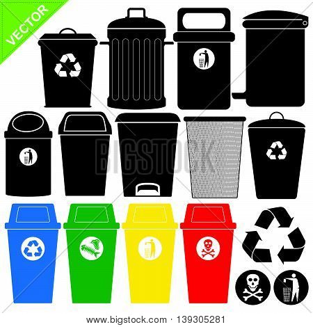 Bin silhouettes vector on white color background