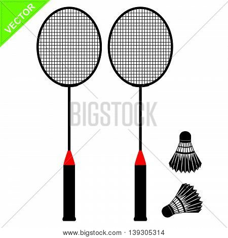 Badminton silhouettes vector on white color background