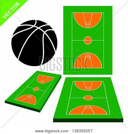 Basketball court vector on white color background