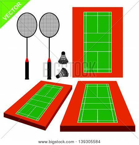 Badminton and court vector on white color background