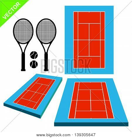 Tennis courts and tennis ball vector on white color background