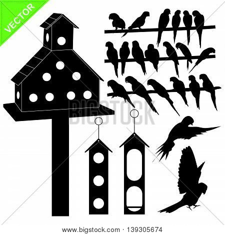 Birds silhouettes vector collections on white color background