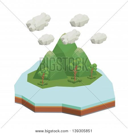 mountains isometric  isolated icon design, vector illustration  graphic