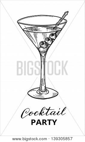 Hand drawn martini cocktail, vector illustration. Cocktail party design template