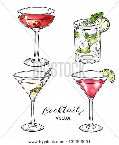 Set of hand drawn alcoholic cocktails isolated on white. Manhattan, martini, cosmopolitan, mojito. Eps 10 vector illustration.