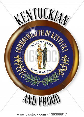 Kentucky state flag button with a circular border over a white background with the text Kentuckian and Proud