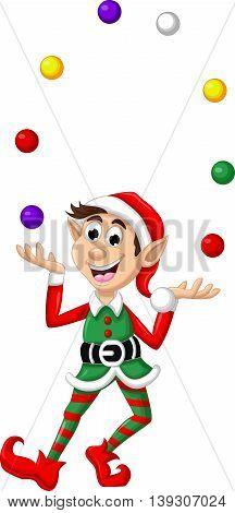 funny christmas elf cartoon playing colorful balls