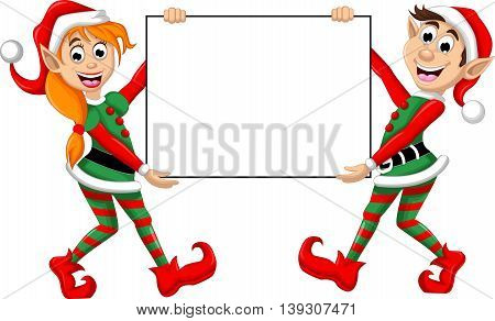 two Christmas elf cartoon holding blank sign