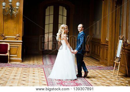 Elegant Wedding Couple At Old Vintage House And Palace