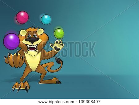Happy smiling lion character juggling four colorful balls on blue background illustration