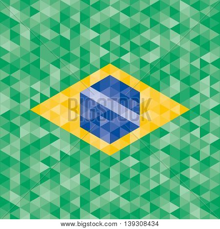 Abstract Brazil flag geometric background. Vector illustration.