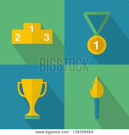 Set of sport game icons for winners in competitions. Vector illustration.