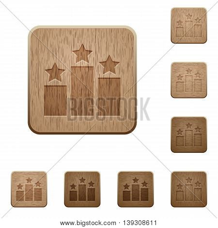 Set of carved wooden Ranking buttons in 8 variations.