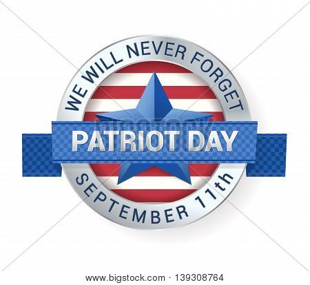 Patriot Day September 11th digital sign with star and ribbon. vector illustration