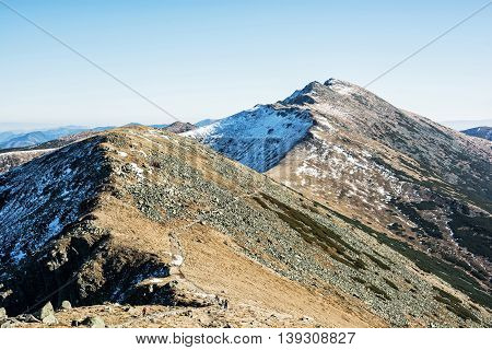 Footpath leading up the peak Dumbier Low Tatras Slovak republic. Hiking theme. Beautiful place. Mountains scene.