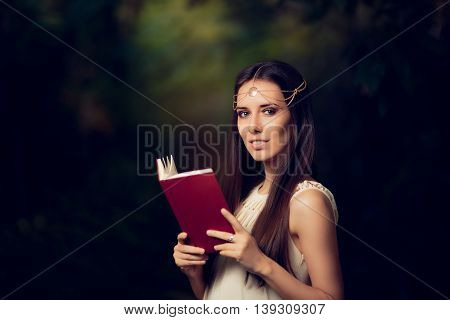 Fairy Princess Girl With Golden Headpiece Reading Story Book