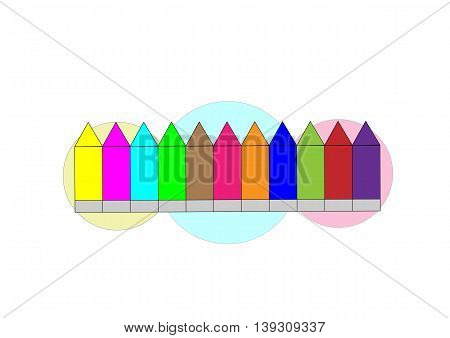 illustration of colorful crayons on which are depicted on the background of balloons
