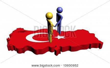 abstract people shaking hands on Turkey map flag illustration