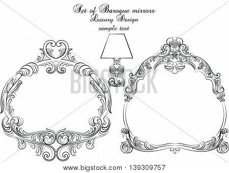 Vintage set of Baroque Royal Vector Frames. Elegant royal frame for mirrors cards invitations etc