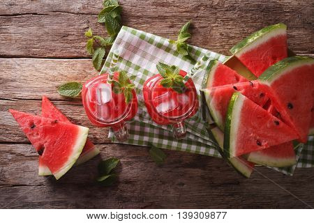 Refreshing Watermelon Cocktail With Ice And Mint Closeup In A Glass Jar. Horizontal Top View