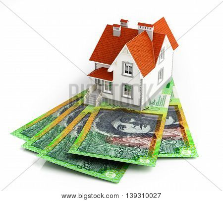 Australian dollar banknotes under house. 3d rendering.