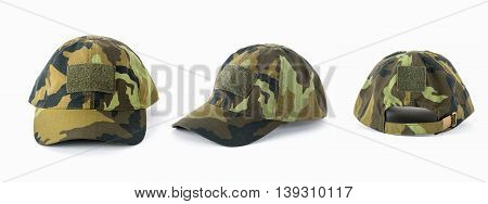 Camouflage cap on a white background, 3