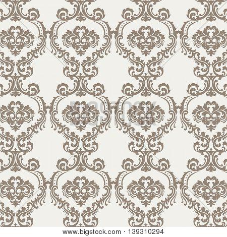 Vintage Floral ornament damask pattern. Elegant luxury texture for backgrounds and invitation cards. Pastel beige colors. Vector