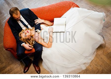 Elegant Wedding Couple At Old Library