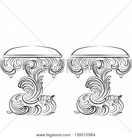 Royal Baroque Vector Classic chair furniture set with Luxury Acanthus ornaments. Vector sketch furniture