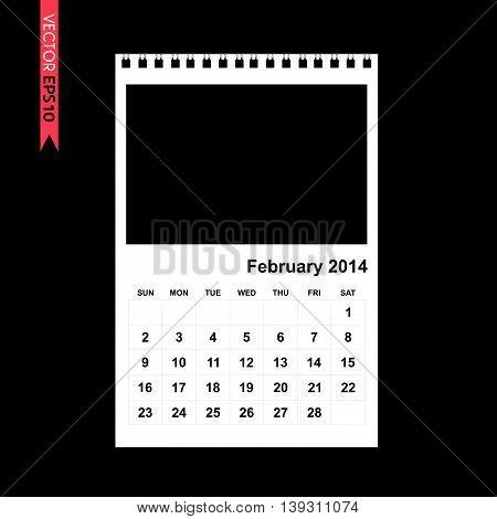February 2014 calendar vector on black color background