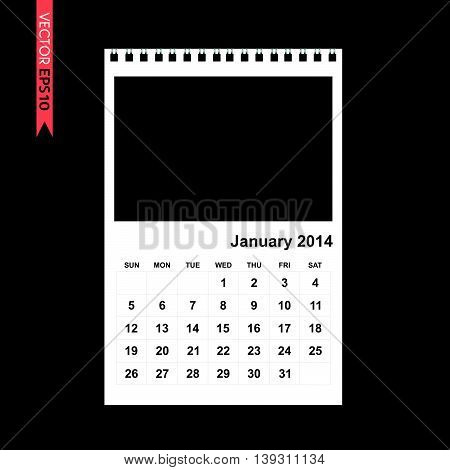 January 2014 calendar vector on black color background