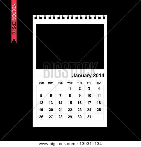 January 2014 calendar vector on black color background