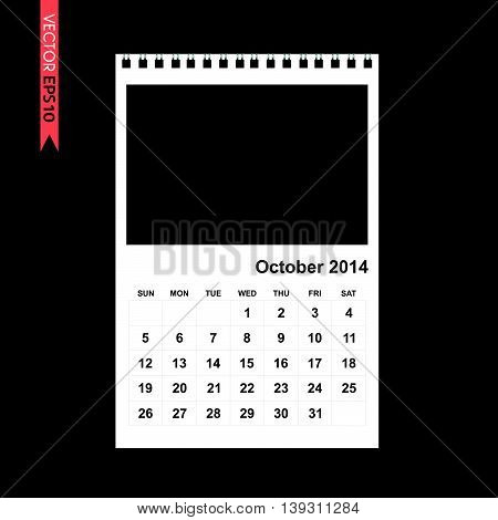 October 2014 calendar vector on black color background