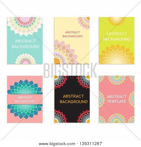 A set of cards with abstract pattern for design invitations and greetings. Vector illustration.