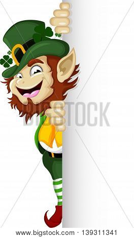 Happy Leprechaun cartoon with a blank sign