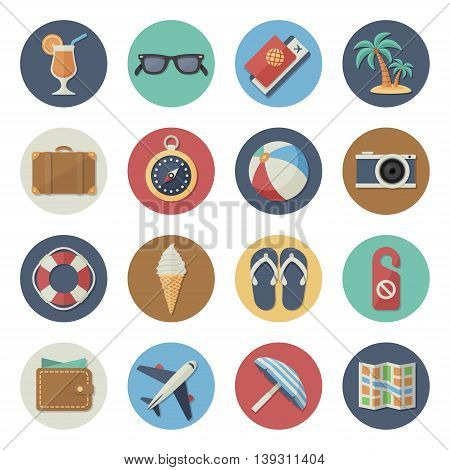 Vector illustration. Flat icon set. Tourism, traveling and beach holidays in simple design. Icon size 256