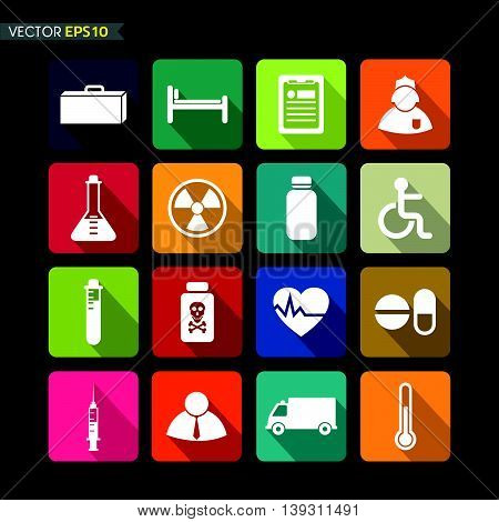 Hospital icons vector on black color background