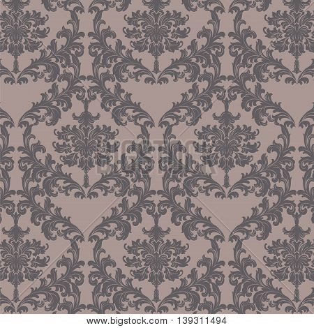 Vector Baroque floral damask pattern element background. Luxury Classic Damask ornament royal Victorian texture for textile fabric