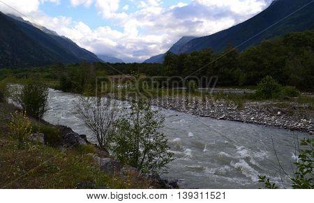 Mountain river. Reserve Teberda, Karachay-Cherkessia Republic, Russia. Photo taken on: July 27 Saturday, 2013