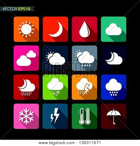 Weather icons vector on black color background