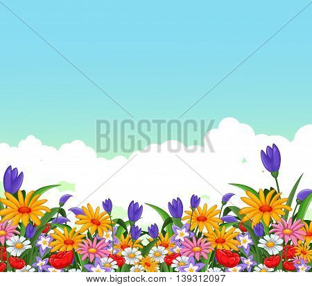 beauty colorful flowers garden for you design
